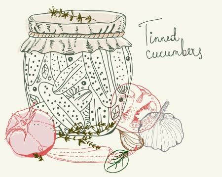 tinned: Tinned Cucumbers, illustration