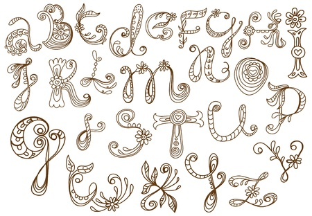 hand drawn floral alphabet, illustration Vector