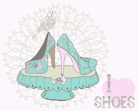 Beautiful woman shoes illustration with text - I love shoes in retro style Vector