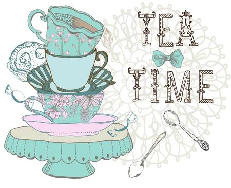 Vintage ochtends thee tijd achtergrond. Illustratie voor ontwerp