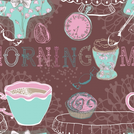 Seamless vintage morning breakfast background. Illustration for design Vector