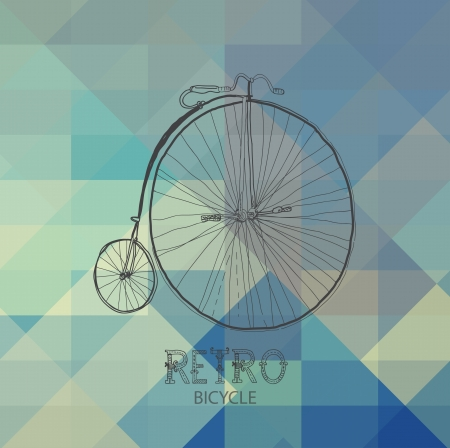 Retro bicycle over geometric background  Ilustração