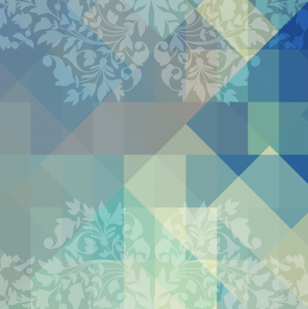 Retro geometric background with flowers