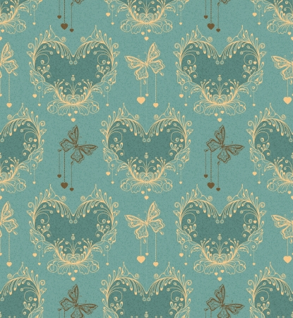 Seamless vintage background with floral ornament and butterfly Vector