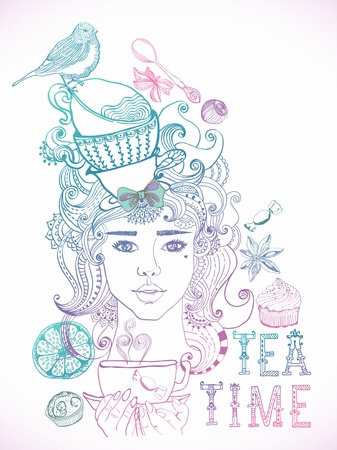 Illustration of a beautiful girl and tea cups and beautiful hair with floral elements Vector