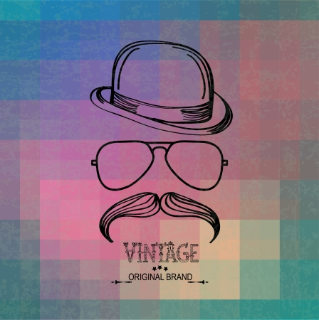 Hipster grunge Retro background with geometric shapes, hat, glasses and moustaches Illustration