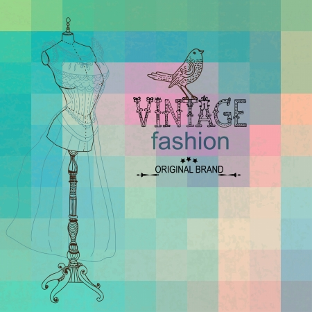manikin: Vintage card with retro dummy over geometric color background