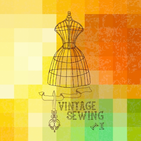 costumer: Vintage card with retro dummy over geometric color background