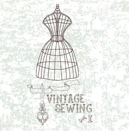 dummy: Vintage card with retro dummy overgrunge background Illustration