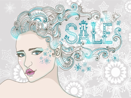 Hand Drawn Beautiful woman over snowflake, beautiful hair and word-SALE, winter sale illustration Illustration