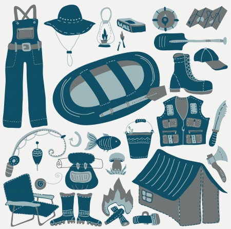 Set of various stylized color icons for Fishing Vector