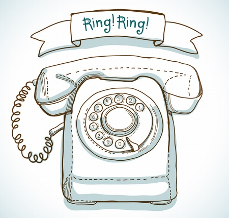 earpiece: Retro telephone and ribbon with text - Ring! Ring! Illustration