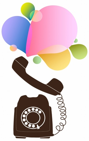 rotary: Retro telephone with color drops Illustration