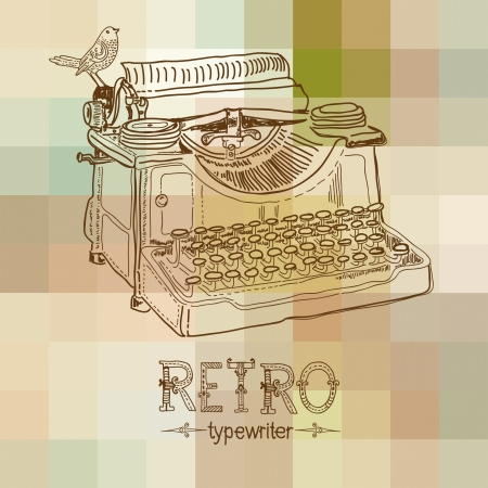 Retro typewriter with bird