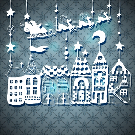 old moon: New year or Christmas card for holiday design with Santa Claus in sleigh over houses