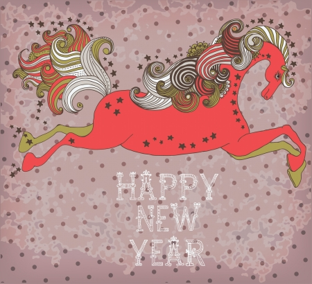 Beautiful color jumping horse, symbol 2014 new year with text for holiday design