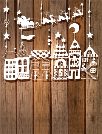 christmas village: New year or Christmas card for holiday design with Santa Claus in sleigh over houses