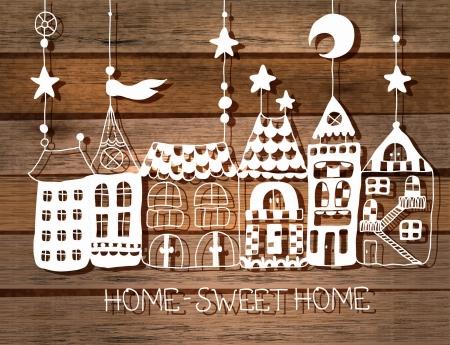 luna caricatura: Sweet Home silueta fondo blanco sobre madera. ilustraci�n