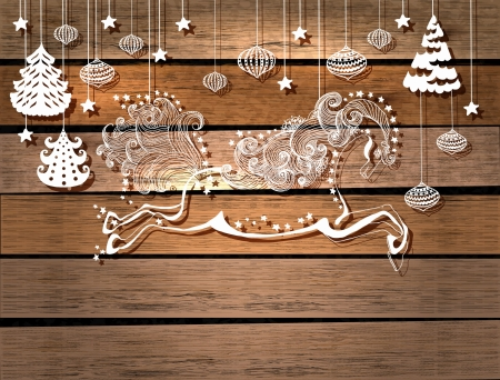 Beautiful color jumping horse over wood background, symbol 2014 new year