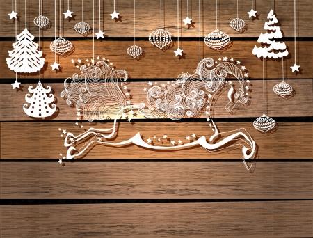 springpaard: Mooie kleur springpaard op hout achtergrond, symbool 2014 nieuw jaar