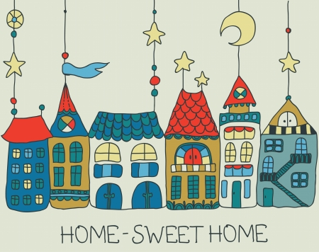 warm house: Sweet Home background -color illustration for beautiful card