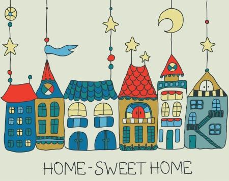 maison: Sweet Home illustration background-color pour la belle carte Illustration