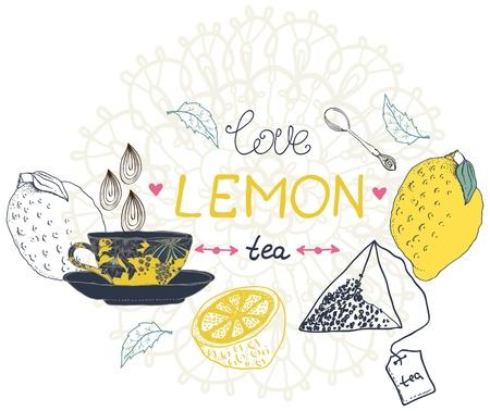 afternoon fancy cake: love lemon tea card, beautiful handdrawn illustration Illustration