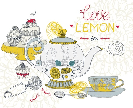 afternoon fancy cake: love lemon tea card, beautiful handdrawn illustration Illustration