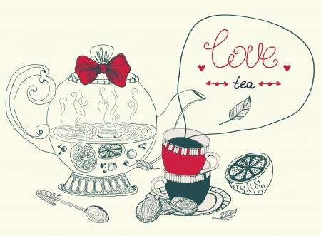 Amor tarjeta de té de limón, hermosa ilustración handdrawn Foto de archivo - 22006751