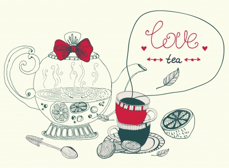 love lemon tea card, beautiful handdrawn illustration Imagens - 22006751