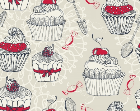Seamless Beautiful retro Background with cupcakes Vector