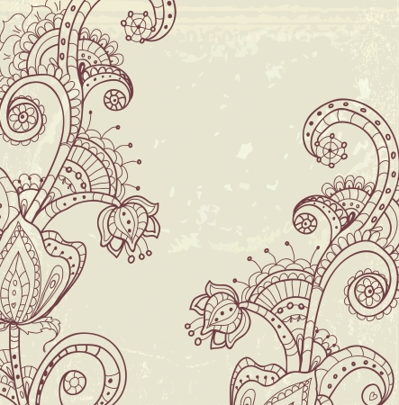 Stylish floral background, hand drawn flowers, illustration Vector