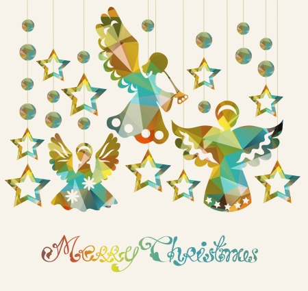 a holiday greeting: Merry Christmas card with Angels and decorations and text