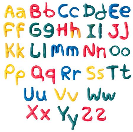 clay modeling: Plasticine alphabet over white