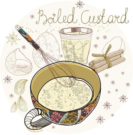 custard: Boiled custard Xmas background, traditional Christmas food
