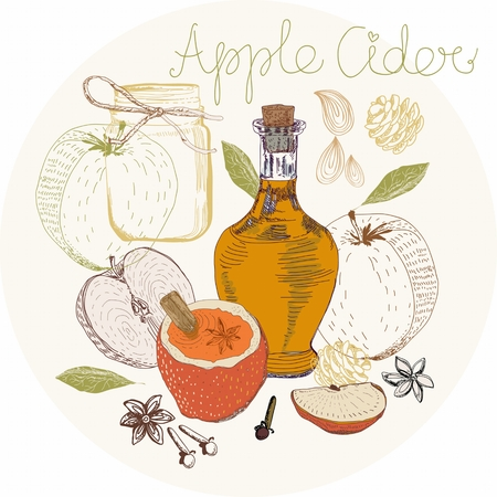 anisetree: Apple Cider background, traditional Xmas food Illustration