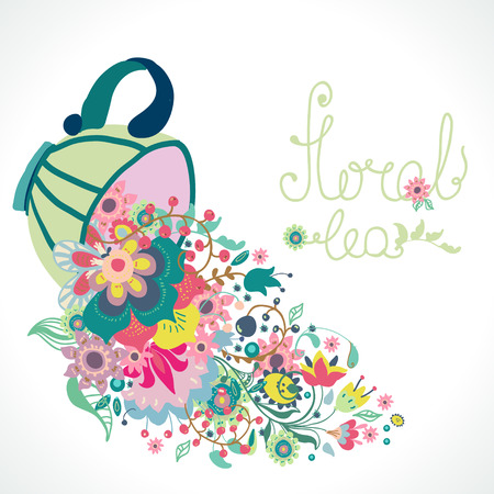 Floral illustration with cup and flowers and text Vector