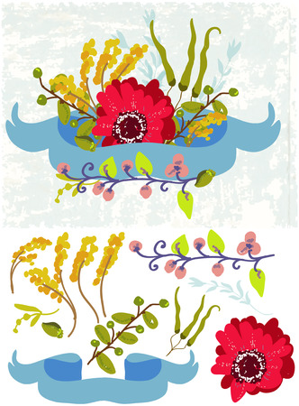 baclground: Retro flowers, Cute floral bouquet with ribbon over grunge baclground and separate elements over white Illustration