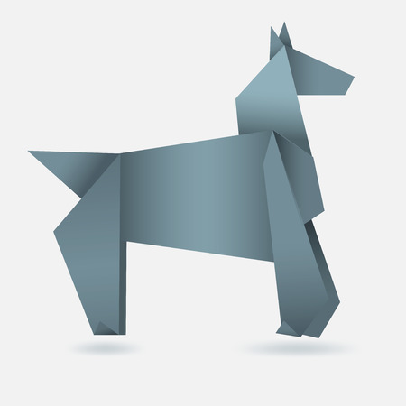 Abstract horse, paper origami, 2014 year symbol Vector
