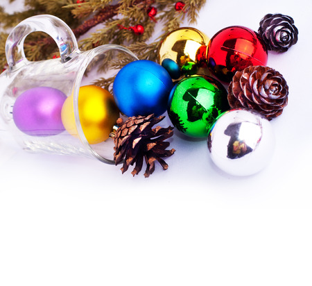 Christmas background with cones, color balls and glass for holiday card decoration, Xmas and New Year with place for text photo