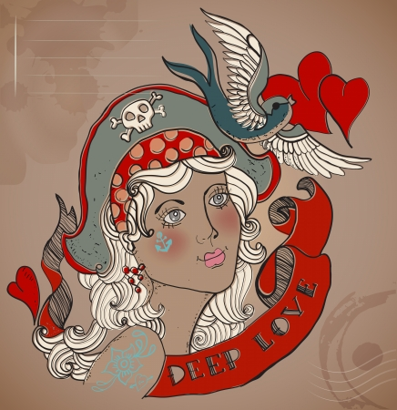 colours: Valentine illustration, Old-school styled tattoo woman with bird and ribbon, Vintage background