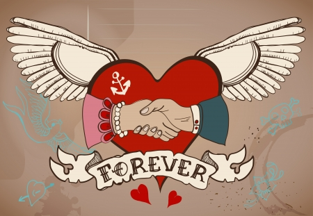 Old-school style tattoo card with heart, man and woman handshake and ribbon, Vintage Valentine illustration for Holiday design Vector