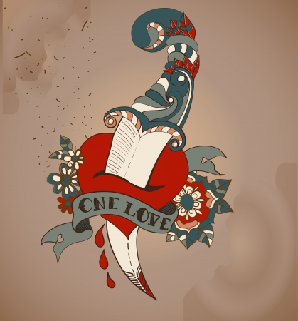 Old-school style tattoo heart with flowers and dagger, Valentine illustration for Holiday design  イラスト・ベクター素材