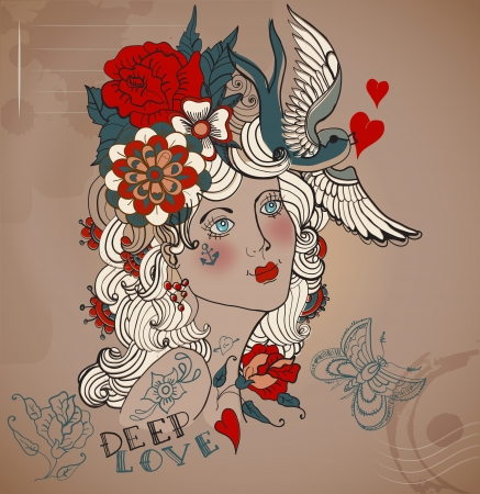 Old-school styled tattoo woman with flowers, Vintage Valentine illustration Vector