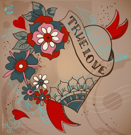 Old-school style tattoo heart with flowers, Valentine illustration for Holiday design Vector