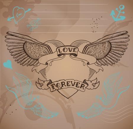 Coeur de tatouage de style vieille école avec des fleurs, Saint-Valentin illustration pour la conception de vacances Banque d'images - 24827646
