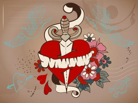 cuchillos: Estilo de la vieja escuela del coraz�n del tatuaje con flores y daga, ilustraci�n de San Valent�n para el dise�o de vacaciones Vectores