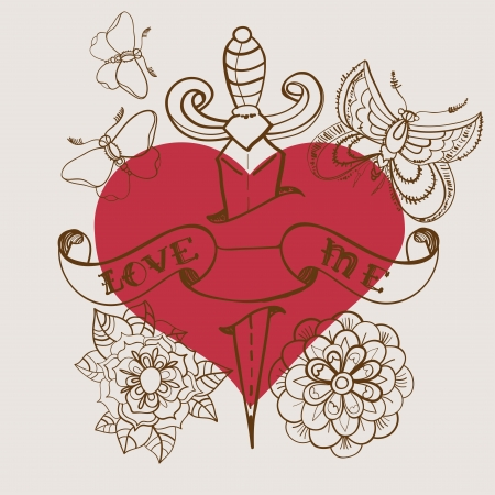 butterfly knife: Old-school style tattoo heart with flowers and dagger, Valentine illustration for Holiday design Illustration