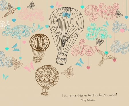 Valentine illustration, hot Air Balloon in sky, hand drawn Background for Design with hearts and birds