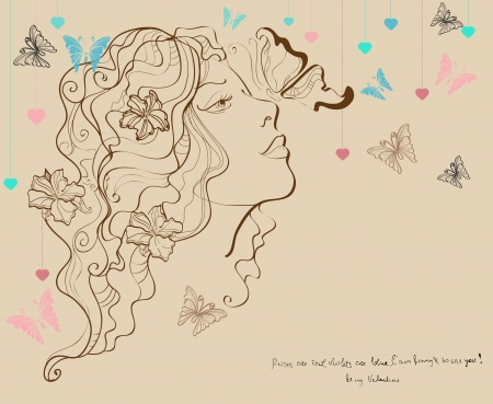 Beautiful woman with butterfly and flowers, Valentine illustration for Holiday design Vector